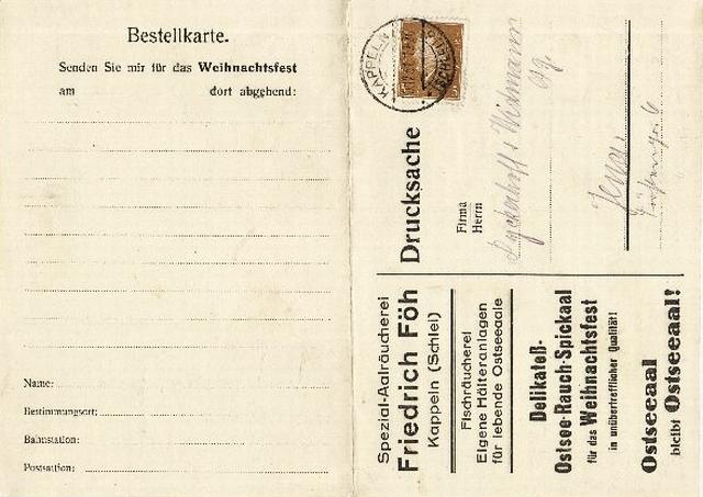 Friedrich Föh - Weihnachtsbestellkarte von 1931