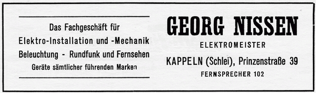 Georg Nissen - Anzeige von 1954