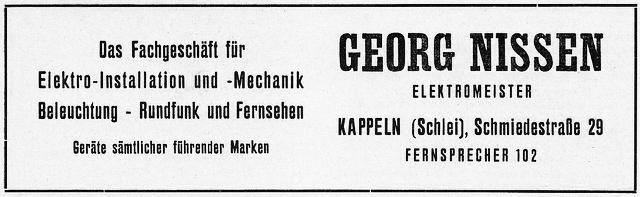 Georg Nissen - Anzeige von 1955