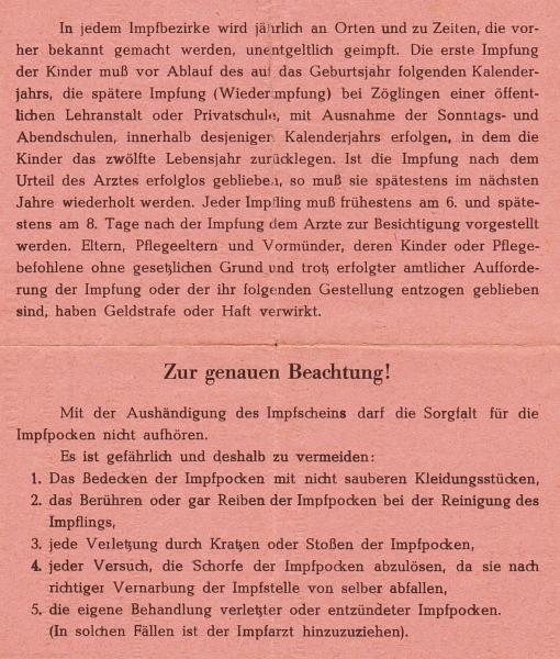 Impfschein (1950) - Rückseite