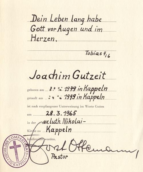 Konfirmationsurkunde 1965