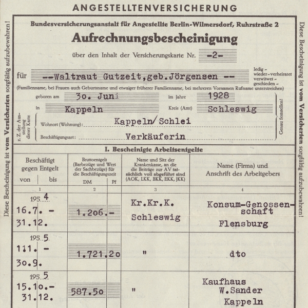 Konsum - Versicherungsnachweis 1954/55