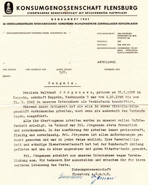Konsum - Zeugnis 1949