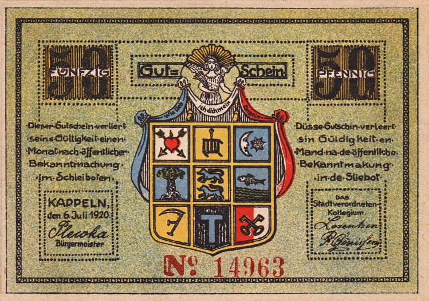 Kappeln - Notgeld 1920 - 50 Pfennig