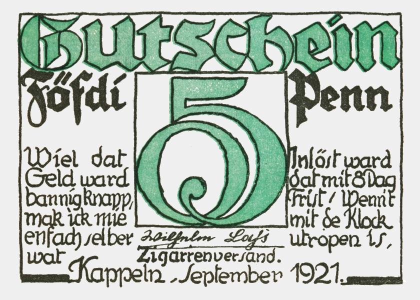 Kappeln - Notgeld Wilhelm Lass 1921 - 50 Pfennig