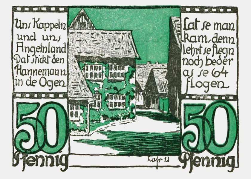 Kappeln - Notgeld Wilhelm Lass 1921 - 50 Pfennig (Rückseite)