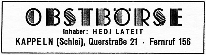 Obstbörse - Anzeige von 1954