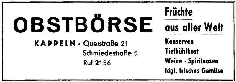 Obstbörse - Anzeige im ROTSTIFT 11 - Sommer 1964
