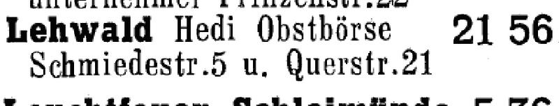Obstbörse - Amtliches Fernsprechbuch von 1964/65