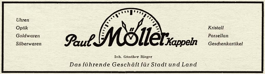 Kappeln - Paul Möller - Anzeige von 1954