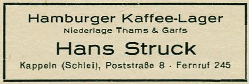 Hans Struck (Thams & Garfs) - Anzeige von 1954
