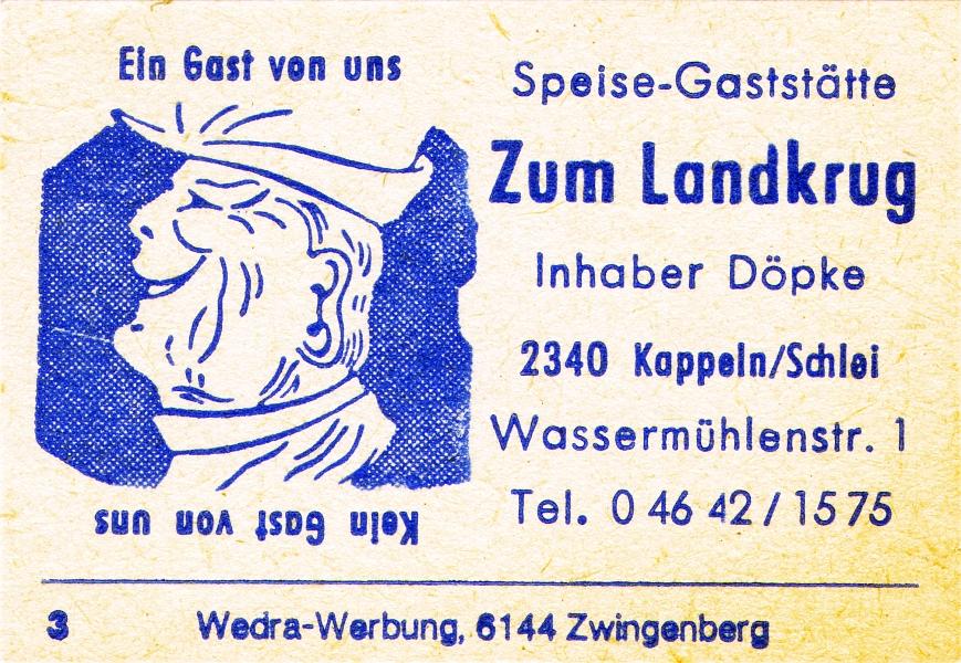 """Zündholzetikett  - """"Zum Landkrug"""""""