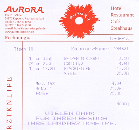 Aurora-Rechnung 2013