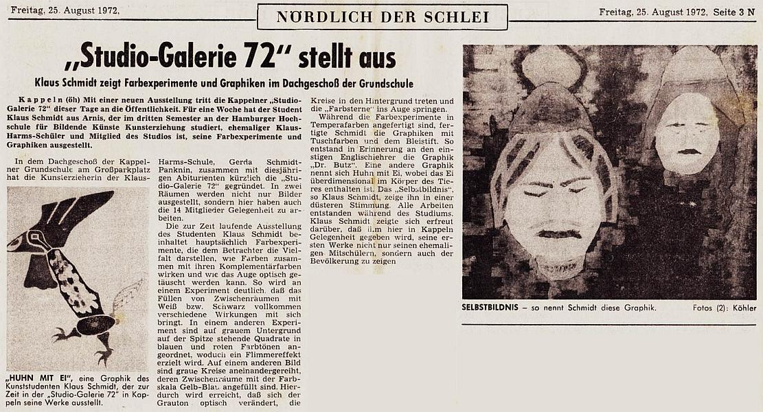 Studio-Galerie 72 - Kieler Nachrichten vom 25. August 1972