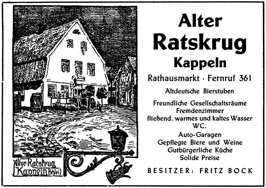 Kappeln - Alter Ratskrug - Anzeige von 1954