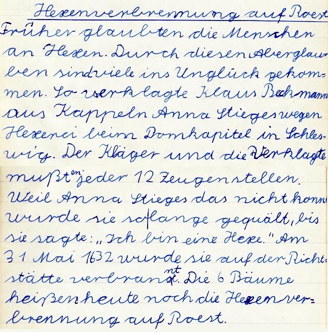 Kappeln - Heimatkundeheft 1958 - Hexenverbrennung auf Roest