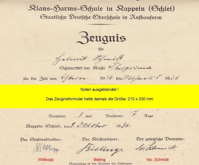 Klaus-Harms-Schule (1936) - Zeugnis