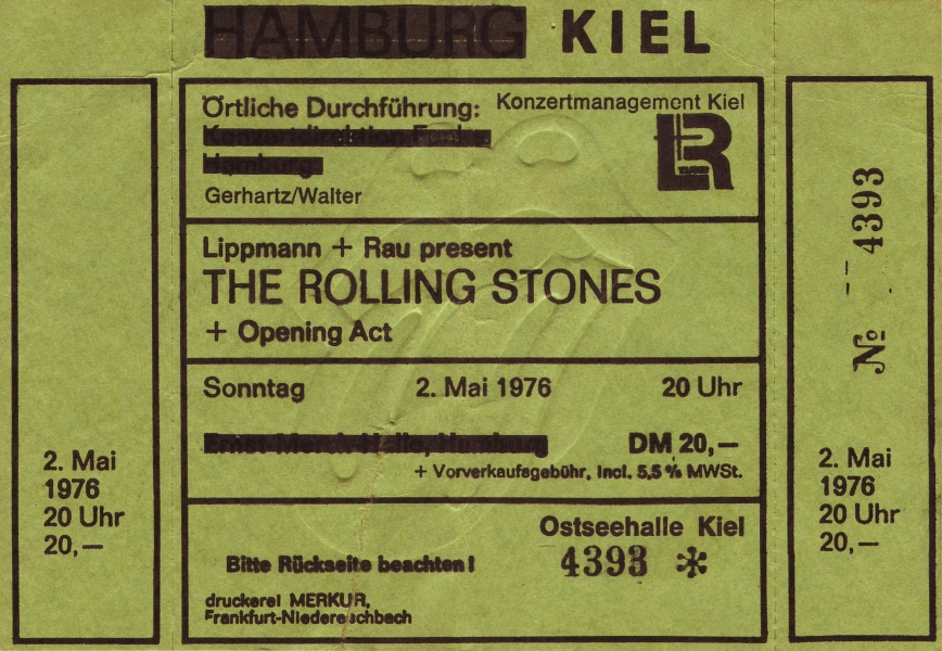 Rolling-Stones-Ticket - Ostseehalle Kiel 1976